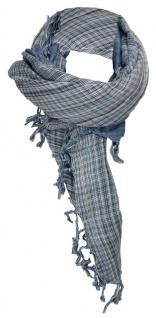 Tigertie Halstuch taubenblau petrol grau gemustert mit Fransen -Gr. 100 x 100 cm