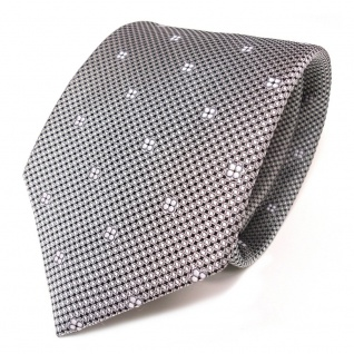 TigerTie Seidenkrawatte silber grau schwarz weiss gemustert - Krawatte Seide