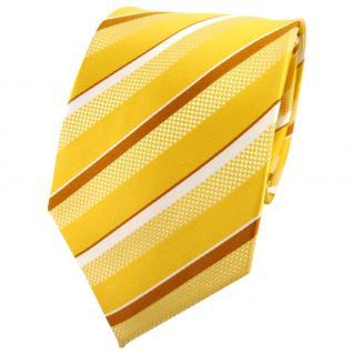 TigerTie Seidenkrawatte gelborange bronze silber weiß gestreift - Krawatte Seide