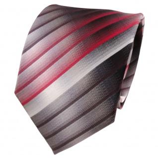TigerTie Seidenkrawatte rot weinrot grau silber anthrazit gestreift - Krawatte