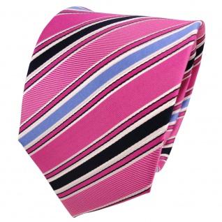 Designer Seidenkrawatte rosa pink telemagenta blau weiß gestreift - Krawatte - Vorschau 1