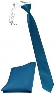 XXL TigerTie Sicherheits Krawatte + Einstecktuch türkis wasserblau Uni Rips