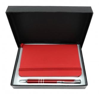 TigerTie - Schreibset rot - Druck-Kugelschreiber, Notizbuch in Geschenkbox