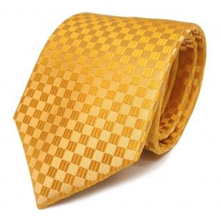 schöne Designer Seidenkrawatte gelb orangegelb kariert - Krawatte 100% Seide