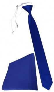 XXL TigerTie Sicherheits Krawatte + Einstecktuch royal blau einfarbig Uni Rips
