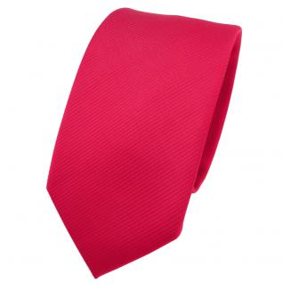 Schmale TigerTie Designer Krawatte rot verkehrsrot knallrot Uni Rips - Binder