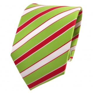 TigerTie Designer Krawatte grün hellgrün rot weiß gestreift - Schlips Binder