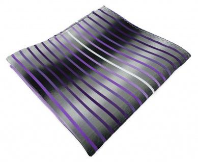 TigerTie Einstecktuch in lila violett flieder silbergrau schwarz gestreift