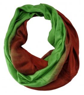TigerTie Loop Schal in grün rot - 160 x 70 cm (Umfang)- Rundschal