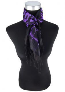 Halstuch in violett schwarz gemustert mit langen Fransen - Größe 90 x 90 cm