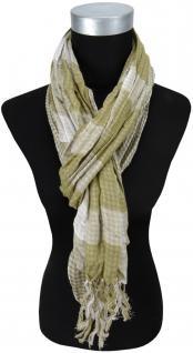Schal in olivegrün grau kariert mit Fransen - 180 cm x 50 cm - Tuch Baumwolle
