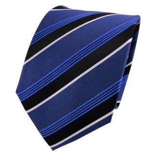 TigerTie Seidenkrawatte blau dunkelblau schwarz weiß gestreift - Krawatte Seide