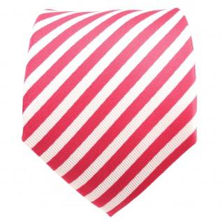 TigerTie Designer Seidenkrawatte rosé erdbeerrot weiß gestreift - Krawatte Seide - Vorschau 2
