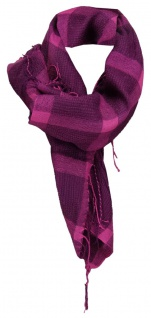 TigerTie Halstuch in lila violett kariert mit Fransen - 90 cm x 90 cm