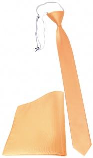 XXL TigerTie Sicherheits Krawatte + Einstecktuch lachs orange einfarbig Uni Rips