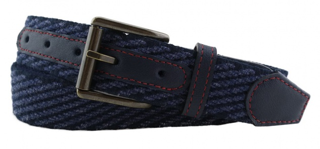 TigerTie - Stretchgürtel in blau dunkelblau einfarbig - Bundweite 100 cm