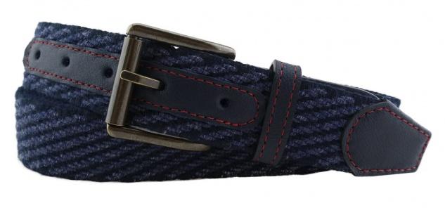 TigerTie - Stretchgürtel in blau dunkelblau einfarbig - Bundweite 110 cm