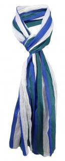 gecrashter Schal in blau grün weiß gestreift - Gr. 180 x 50 cm