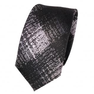 Schmale Designer Seidenkrawatte anthrazit schwarz grau gemustert- Krawatte Seide
