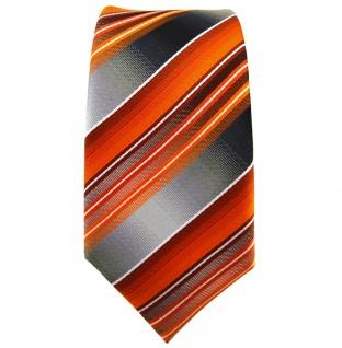 schmale TigerTie Krawatte orange anthrazit silber grau gestreift - Tie Binder - Vorschau 3