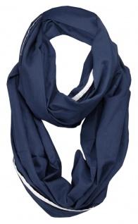 TigerTie Loop Schal dunkelblau marine weiss Uni - Gr. 150 x 90 cm - Rundschal