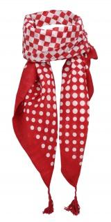 Halstuch in rot weiss karos + gepunktet mit Tusseln - Tuchgröße 100 x 100 cm