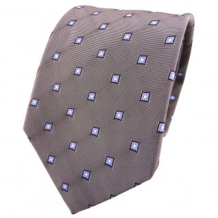 TigerTie Seidenkrawatte grau dunkelgrau blau silber gemustert - Krawatte Seide