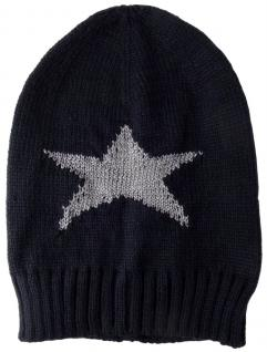 TigerTie Strickmütze in schwarzblau mit einen Stern Motiv in der Farbe Silber