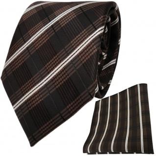 TigerTie Krawatte + Einstecktuch in braun dunkelbraun creme schwarz gestreift