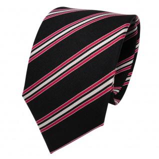 TigerTie Designer Seidenkrawatte schwarz rot silber gestreift Rips