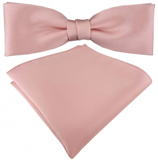 vorgebundete schmale TigerTie Satin Fliege + Einstecktuch in rosa Uni + Box