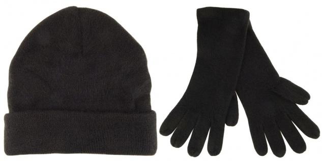 2er Set - Strickhandschuhe + Strickmütze in der Farbe schwarz Uni - Größe M