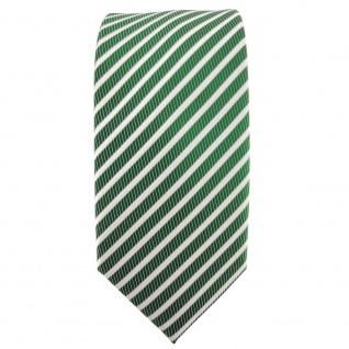 Schmale TigerTie Satin Krawatte grün smaragdgrün silber weiß gestreift - Binder - Vorschau 2