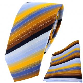 schmale TigerTie Krawatte + Einstecktuch gelb orange braun blau silber gestreift