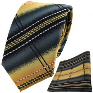 TigerTie Designer Krawatte +Einstecktuch gold anthrazit silber schwarz gestreift