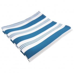 TigerTie Einstecktuch in türkis ozeanblau weiß silber gestreift - 100% Polyester
