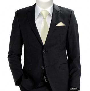 XXL TigerTie Sicherheits Krawatte + Einstecktuch beige elfenbein einfarbig Rips - Vorschau 2