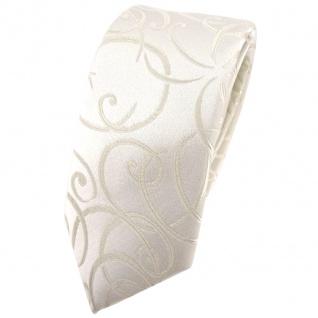 schmale Hochzeit Seidenkrawatte creme Rankenmuster Uni - Krawatte 100% Seide