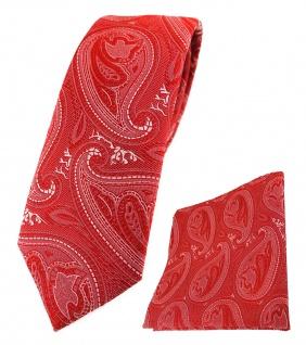 schmale TigerTie Krawatte + Einstecktuch in rot silber Paisley gemustert