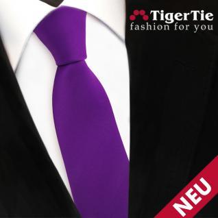 Schmale TigerTie Satin Krawatte lila violett Uni - Schlips Binder Tie