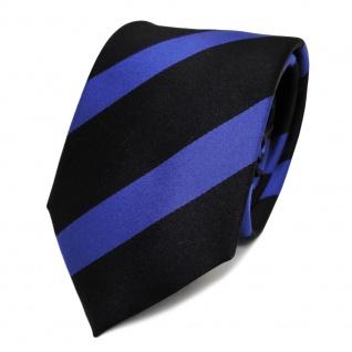 Designer Seidenkrawatte blau schwarz schwarzblau gestreift - Krawatte Seide Tie