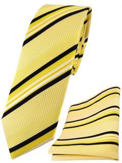 schmale TigerTie Seidenkrawatte +Seideneinstecktuch gelb weiß schwarz gestreift