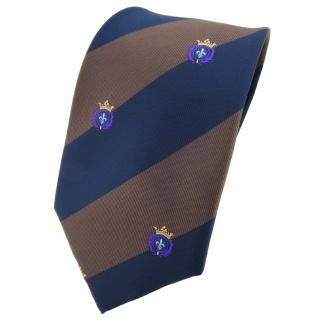 TigerTie Krawatte braun dunkelbraun dunkelblau gestreift Wappen - Tie Binder