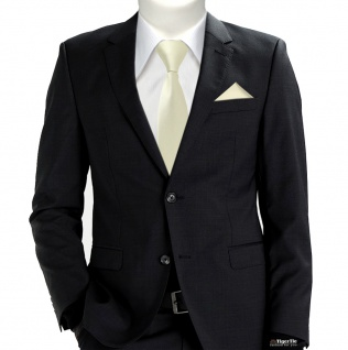TigerTie Sicherheits Krawatte + Einstecktuch beige elfenbein einfarbig Uni Rips - Vorschau 2