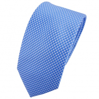 Schmale TigerTie Seidenkrawatte blau silber gepunktet - Krawatte Seide