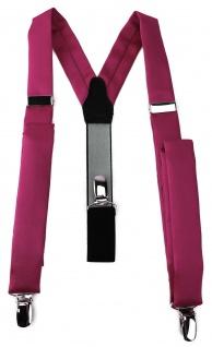 schmaler TigerTie Unisex Hosenträger mit 3 extra starken Clips - in pink Uni