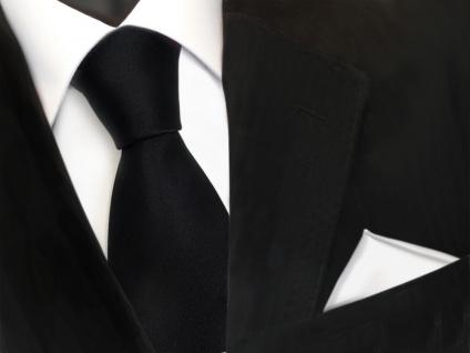 schöne TigerTie Krawatte in schwarz + Einstecktuch weiß schneeweiß uni - Binder