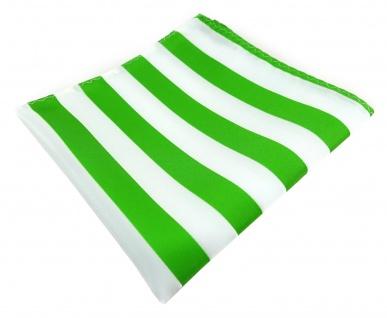 TigerTie Einstecktuch in grasgrün weiss gestreift - Stecktuchgröße 30 x 30 cm