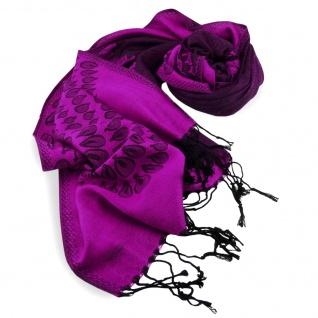Schal in magenta violett purpur schwarz gemustert Gr. 175x68 cm - 100% Viskose