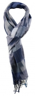 TigerTie Schal in blau grau blaugrau gemustert mit Fransen - Gr. 180 x 50 cm